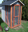 THE WEELSUMMER COOP 4 x 8 with a 4 x 3 enclosed section with perch's and two nest box's will hold 5 to 6 chickens. Built in panels so we can get in small gates. $985.00 with 25 year Timberline comp roof $975.00 with Tin roof.